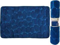 Коврик для ванной комнаты 50X80cm Pebble синий, микрофибра