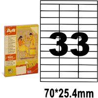 Этикетки самоклеящиеся A4, 100 л., 33шт., 70x25.4 мм