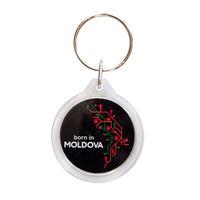 cumpără Брелок круглый пластиковый – born in Moldova (black) în Chișinău