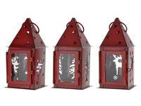 Фонарь подвесной красный 7X7X16cm (олень/елка/ангел)