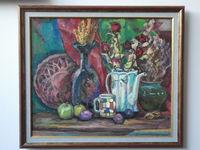 Кувшины и сухие цветы, 58x69 см, холст, масло