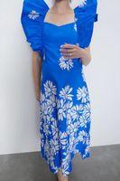 Платье ZARA Синий с принтом 2298/646/400