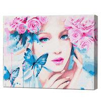 Frumoasa cu ochi albaștri cu flori, 40х50 cm, pictură pe numere Articol: GX30666