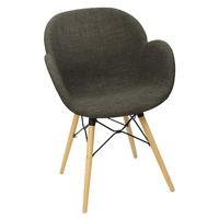 купить Пластиковый стул с обивкой, деревянные ножки 600x580x840 мм, темно-серый в Кишинёве