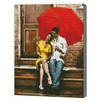 Пара под зонтиком, 30x40 см, алмазная мозаика QS200356