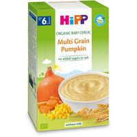 Terci organic Hipp din cereale, dovleac și morcov fără lapte (6+ luni), 200 gr.