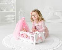 Деревянная Кроватка для кукол с балдахином