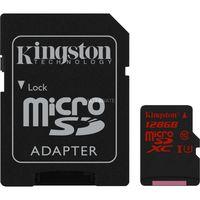 Kingston 128GB microSDXC Class10 UHS-I U3 with SD adapter