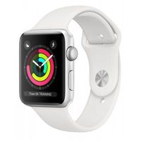 Apple Watch Series 3, 38mm, Silver Aluminium Case, White Sport Band, MTEY2