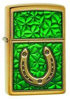 Zippo 29243 Horseshoe Clovers Brushed Brass Emblem
