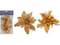 """Украшения """"Цветы рождественские"""" 2шт, D12.5cm, золотые"""