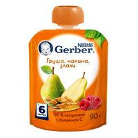Gerber пюре груша, малина и злаки, 6 мес, 90 гр