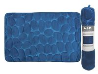 Коврик для ванной комнаты 40X60cm Pebble синий, микрофибра