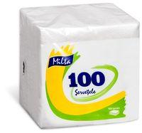 Салфетки столовые MILTA 24x24см 1-сл., 100 штук белые