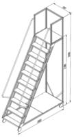 купить Лестница платформа Gama Cirrus 2398x1800x700 мм,  9+1 ступений в Кишинёве