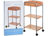 Etajera pe rotile cu 2 nivele + cutie 81X40X30cm, metal/bambus
