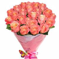 купить Букет из 25 Персиковых Роз ГОЛЛАНДСКИЕ ПРЕМИУМ 80-90СМ в Кишинёве