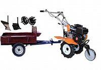 Set motocultivator TECHNOWORKER HB 700N + Remorca RK500 + plug simplu + plug reglabil + roti metalice 4*8