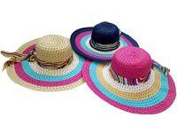 купить Шляпа женская летняя D45cm, с разноцветными кругами и бантом в Кишинёве