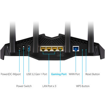 ASUS RT-AX82U AX5400 Dual Band WiFi 6 Gaming Router, WiFi 6 802.11ax Mesh System, AX5400 574 Mbps+4804 Mbps, dual-band 2.4GHz/5GHz-2 for up to super-fast 5.4Gbps, WAN:1xRJ45 LAN: 4xRJ45 10/100/1000, ASUS Aura RGB, PS5 Compatible, USB 3.2