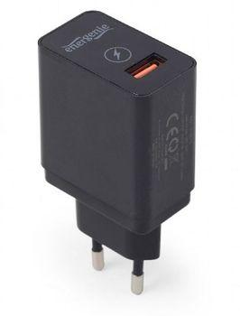 Universal USB Charger - Gembird EG-UQC3-01, 1xUSB QC3.0 output: DC 3.8V...6.5V / 3A, 6.5V...9V / 2A, 9V...12V / max 1.5A, Input: 100/240V, Black