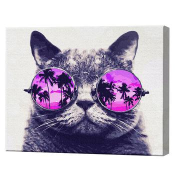 Кот в очках, 40х50 см, картина по номерам Артукул: GX29637