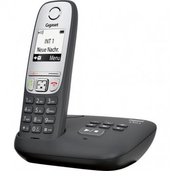 "DECT/GAP Phone Gigaset A415A Black/Silver, handset + analog base station/charger, Answering to 25 minutes, TFT 1.8"", AOH, Caller ID, Handsfree,Large numbers, illuminated keyboard,Standby time up to-200h,Talk time up to-18h,Phonebook #100,2 x NiMH AAA"
