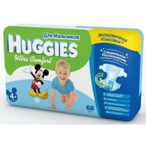 купить Huggies подгузники Ultra Comfort 4+ для мальчиков 10-16кг, 68шт в Кишинёве