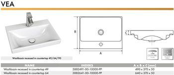 cumpără Lavoar ceramica pentru mobilier (640 x 370 x 50mm) 64 VEA - dreptunghiular CERANO în Chișinău