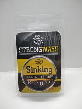 Поводочный материал Black Yellow 20LB, 9.1кг, 10м