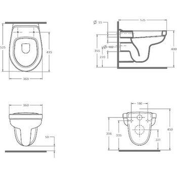 Унитаз подвесной Taormina Pro 53 cm с крышкой Soft close