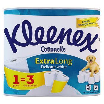 Туалетная бумага Kleenex Extra Long, 4 рулонов, двухслойная