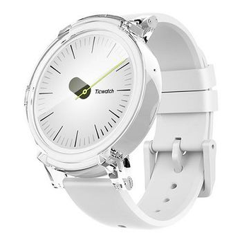 "Mobvoi  Ticwatch E  Ice White, 1.4"" OLED Touch Display, Wear OS by Google, 512MB/4GB, Time, Mic/Speaker for incoming calls, Heart Rate, Steps, Alarm, Distance Display, Average Daily Steps, Weather, Notifications, IP67, 48Hrs+, BT4.1, 41.5g"