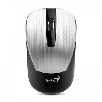 Mouse Genius NX-7015 Silver, Metallic style, Wireless 2.4GHz Optical Mouse, Nano receiver, 800/1200/1600 dpi, Extends battery life up to 18 months, Battery Low Indicator, Rubber hand grip, Slot receiver, USB, Silver