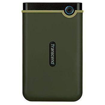 """1,0 ТБ (USB3.1) 2,5 """"Transcend"""" StoreJet 25M3G """"Slim, зеленый в стиле милитари, резиновая защита от ударов, резервное копирование OT"""