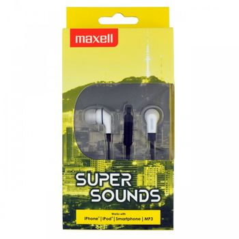 "MAXELL ""SUPER SOUND"" Black, Earphones with in-line Microphone, Hands free calling features, 3 sets of ear tips, Flat cable, Cord type cable 1.2 m"
