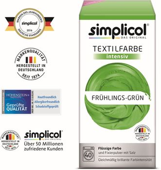 SIMPLICOL Intensiv - Frühlings-Grün, Краска для окрашивания одежды в стиральной машине, Frühlings-Grün