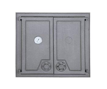 Дверца чугунная глухая двустворчатая с термометром DW7Т