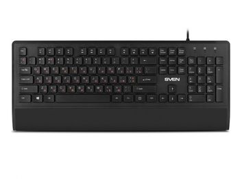 купить Keyboard SVEN KB-E5600H, Slim, Low-profile keys, Island-style, Fn key, 2 x USB ports, Black, USB в Кишинёве