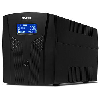 SVEN Pro 1500 (LCD,USB), Line-interactive UPS with AVR, 1500VA /900W, Multifunction LCD display, 3x Schuko outlets, 2x9AH, AVR: 175-280V, USB, RJ-11, Cold start function, Black