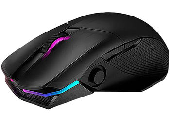 ASUS ROG Chakram RGB Wireless Gaming Mouse, Qi charging, programmable joystick, wired/2.4GHz/Bluetooth, 16000 dpi sensor, Aura Sync lighting