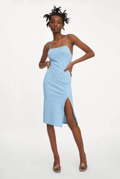 Платье ZARA Синий в клетку 4215/314/044