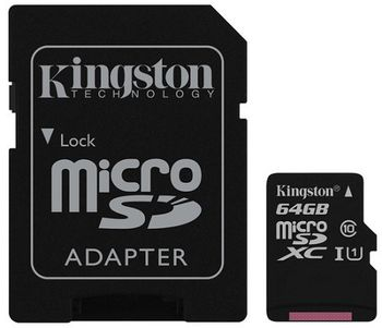 Kingston 64GB microSDHC Canvas Select Class10 UHS-I with SD adapter, 400x, Up to: 80MB/s