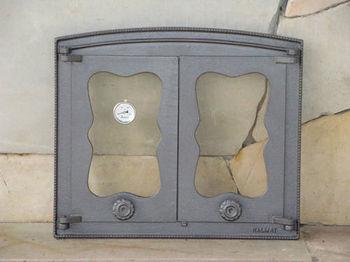 Дверца чугунная со стеклом двустворчатая с термометром BATUMI IV