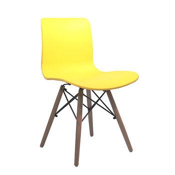 купить Стул пластиковый с деревянными ножками, желтый в Кишинёве