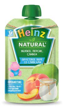 Пюре HEINZ Яблоко, персик, сливки 90г (6 месяцев)