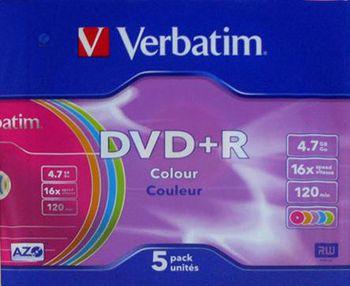 купить Диск DVD. Упаковка Verbatim DVD + R (43556) 5-Pack-Slim, Colour (16x) в Кишинёве