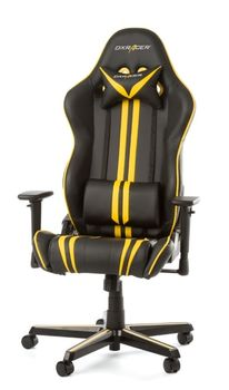 Gaming Chairs DXRacer - Racing GC-R9-NY-Z1, Black/Yellow/Black - PU leather, Gamer weight up to 100kg / growth 165-195cm, Foam Density 50kg/m3, 5-star Aluminum IC Base, Gas Lift 4 Class, Recline 90*-135*, Armrests: 3D, Pillow-2, Caster-2*PU, W-23kg