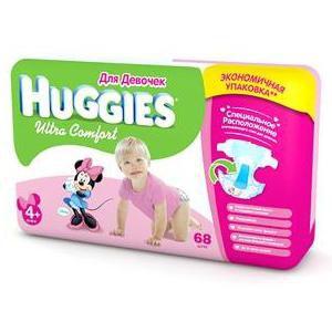 Huggies подгузники Ultra Comfort  4+ для девочек (10-16кг)(68шт)