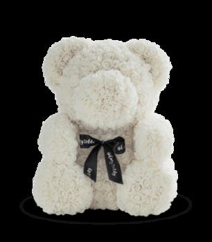 купить Медведь из белых   роз 70 см в Кишинёве